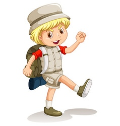 Little boy with backpack going camping vector image
