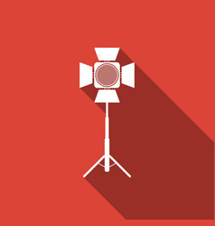 movie spotlight icon isolated with long shadow vector image
