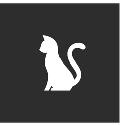Silhouette of pet cat with a tail up abstract vector image