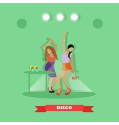 Two sexy girls dancing around table in night club vector image