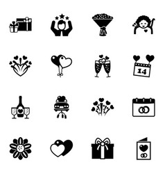 16 holiday filled icons set isolated on white vector image