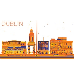 Abstract Dublin Skyline with Color Buildings vector image