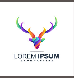 awesome deer gradient logo design vector image