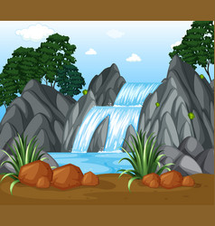 Background scene with waterfall in the woods vector