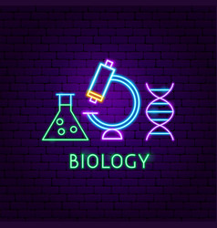 biology neon label vector image