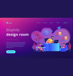 biophilic design in workspace concept landing page vector image