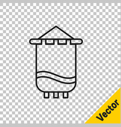 black line medieval flag icon isolated on vector image