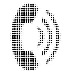 Black pixel phone ring icon vector
