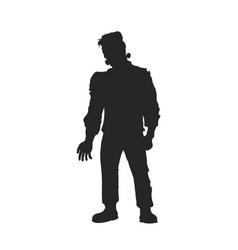 black silhouette frankenstein monster vector image