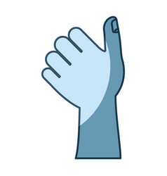 Blue shading silhouette of left hand thumb up vector