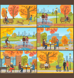 Cafe and customers autumn park people set vector