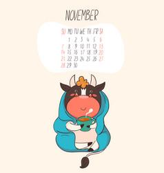 calendar 2021 for november cute bull is drinking vector image