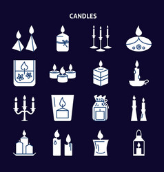 candle silhouette icons set in flat style vector image