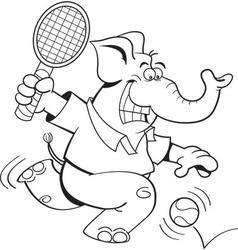 Cartoon elephant playing tennis vector