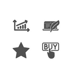 Chart star and copyright laptop icons buying vector