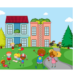children playing infront of house vector image