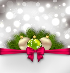 Christmas glowing card with fir branches and glass vector image