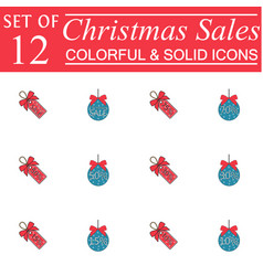 Christmas sales and balls with ribbons color icons vector