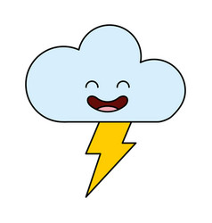 Cloud with ray climate kawaii character vector
