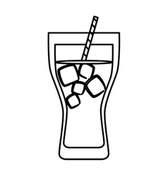 Cold beverage with ice and straw icon image vector