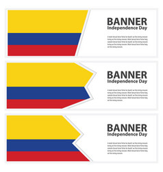 Colombia flag banners collection independence day vector