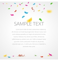Colorful confetti background with place for text vector