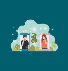couple in smartphone on landscape vector image