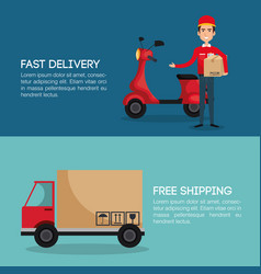 Courier worker avatar character vector