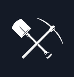 Crossed spade and pickaxe vector