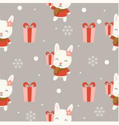 Cute bunny christmas seamless pattern theme vector