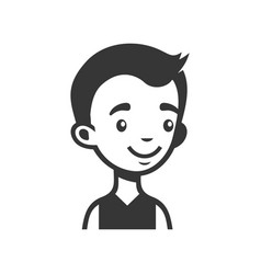 cute young man avatar cartoon monochrome userpic vector image
