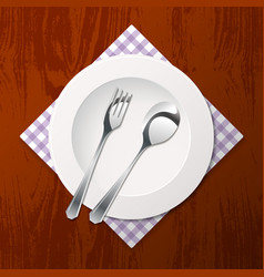 Cutlery on a table vector
