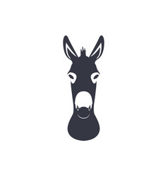 Dark blue silhouette head of a donkey vector