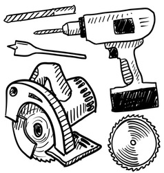 doodle power tools vector image