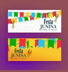 Festa junina festival banners set of two vector