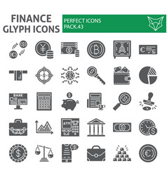 finance glyph icon set money symbols collection vector image