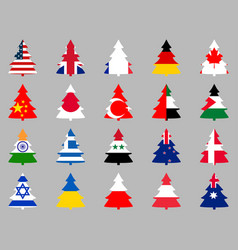 Firs with flags of different countries around the vector