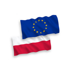 flags of poland and european union on a white vector image
