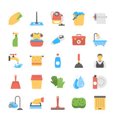 Flat icon set of laundry and bathroom cleaners vector