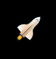 flying spaceship on black vector image