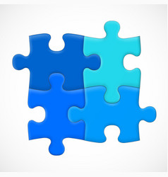 four piece puzzle solution concept vector image