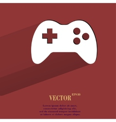 Gaming Joystick Flat modern web button with long vector image