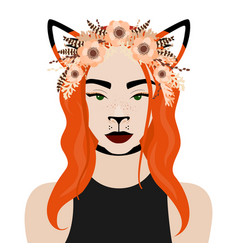 girl with fox ears flower vector image