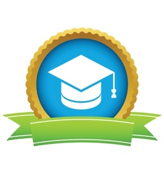 Gold graduate cap logo vector