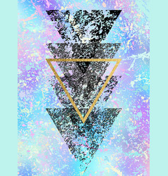 Grunge black shapes of triangles with gold vector