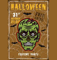 halloween costume party invitation poster vector image