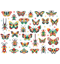 hand drawn cute insects doodle flying butterfly vector image