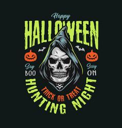 happy halloween vintage print vector image