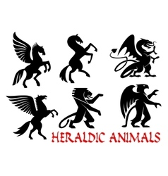Heraldic mythical animals silhouette emblems vector image