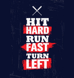 hit hard run fast turn left baseball sport vector image